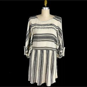 Free People Lilly Dress Stripes Puffed Sleeves